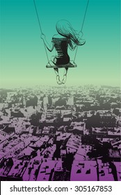 Lonely girl on swing against backdrop of city. Sketch.
