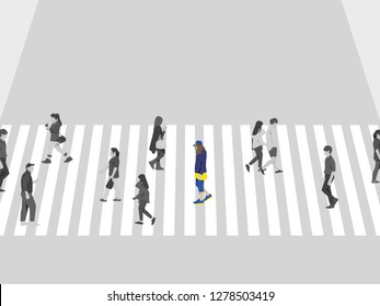 Lonely girl and people crossing the street on crosswalk, in blue, yellow and brown tones
