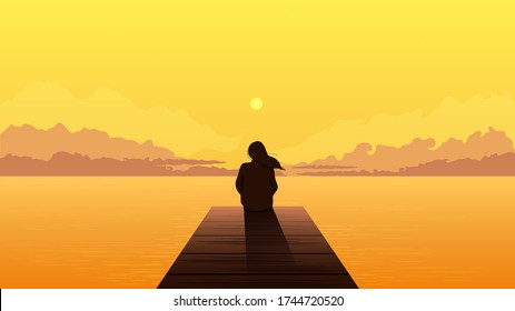 Lonely girl silhouette on sunset. Sad alone dreamy woman sitting looking at orange sunset among clouds on sea pier illustration person loneliness pensive vector depression.