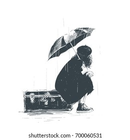 Lonely girl is sitting on the luggage with an umbrella in her hands during the rain. Sketch
