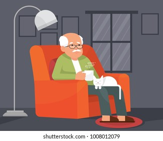 a lonely grandpa/grandfather or oldman sitting on a couch holding a mug with hot coffee and a white cat sitting on his lap