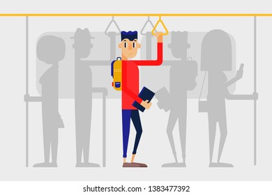 Lonely guy in a crowd on the subway. People on public transport. Flat style vector illustration.