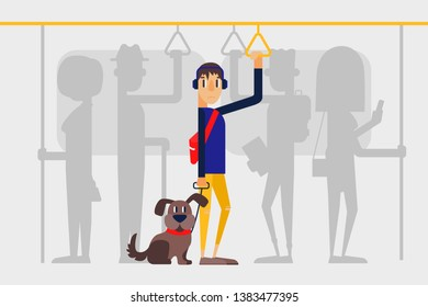 Lonely guy with a dog in a crowd on the subway. People on public transport. Flat style vector illustration.