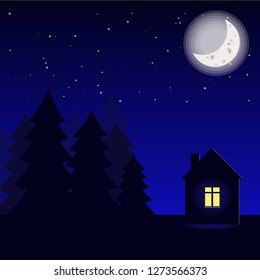 Lonely house next to the forest starry night vector illustration