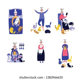 Lonely lady with cats during everyday activity as feeding, sleeping and relaxation in armchair set of icons flat vector illustration isolated on white background.