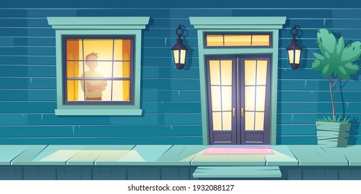 Lonely man with crossed arms stand at window look on night street. Male character at home, outside view with entrance cottage door and glow lanterns. Loneliness, melancholy Cartoon vector illustration