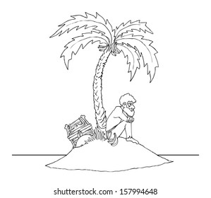 Lonely man on a deserted island, black and white outline, vector illustration