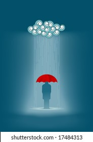 Lonely man in the rain. All elements are layered separately in vector file.