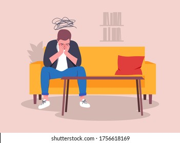 A lonely man sitting on a couch in the office of a psychoanalyst. Young depressed male character holding his head. Cloud of sad thoughts. Flat vector illustration.