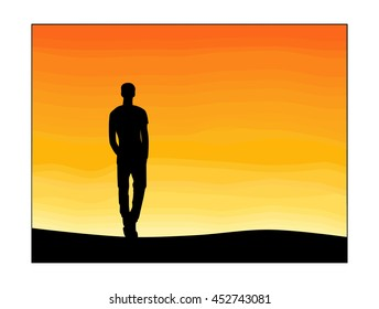 Lonely man and sunset sky
