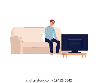 Lonely miserable man alone in front of TV, flat vector illustration isolated.