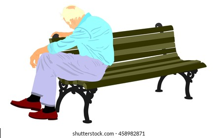 Lonely old man sitting on bench in the park vector illustration. Worried senior person. Desperate retiree looking down. Daydreaming,no hope. Pensioner thinking about life. Senility alzheimers trouble.