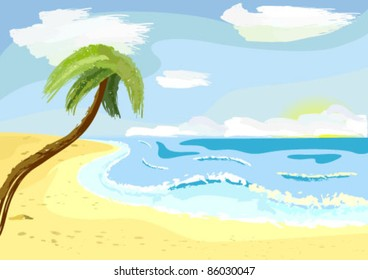 a lonely palm tree on beach