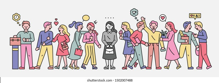 A lonely person in a crowded and joyful crowd. It is expressed in black and white alone. flat design style minimal vector illustration