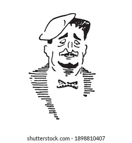 Lonely person with sad face and bow tie, hand drawn outline illustration. Single old man with hat and mustache, pen drawing. Emotional gentleman cartoonish sketch image.