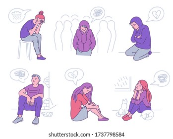 Lonely person set - sad cartoon people with broken heart, depression or loneliness sitting or walking in crowd. Vector illustration of depressed men and women.