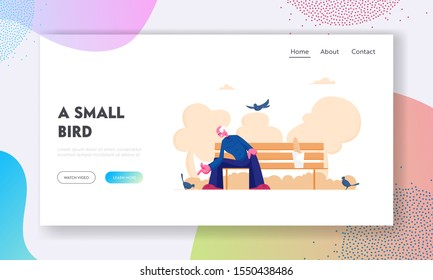 Lonely Senior Man Feeding Birds in Public Park Website Landing Page. White Haired Pensioner Sitting on Bench Giving Bread Crumbs to Doves. Loneliness Web Page Banner. Cartoon Flat Vector Illustration