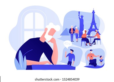 Lonely single grandfather suffering from depression, sadness. Social isolation, old people loneliness, isolation among the elderly concept. Pinkish coral bluevector isolated illustration