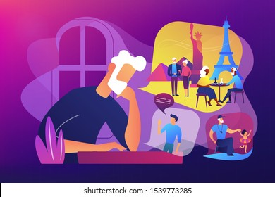 Lonely single grandfather suffering from depression, sadness. Social isolation, old people loneliness, isolation among the elderly concept. Bright vibrant violet vector isolated illustration