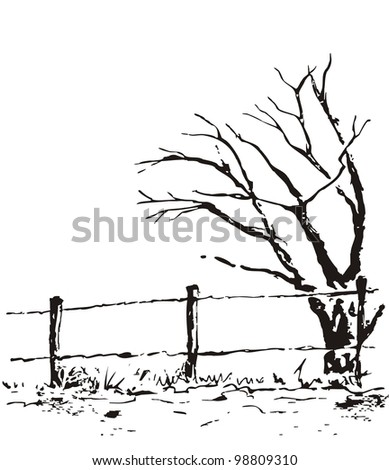 Lonely Tree Fence Vector Nature Illustration Stock Vector Royalty