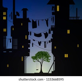 lonely tree with swing inside big city, , vector