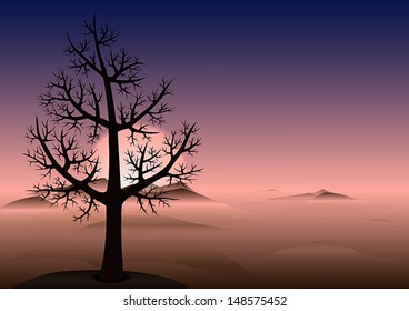 Lonely tree without leaves on the hill. Sunset time. Heads of a mountains looks through the fog. Vector Background with copy space.