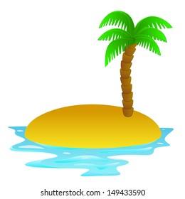 lonely tropical sandy island vector clip art illustration