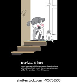 Lonely unhappy child sits in door steps facing darkness outside home. Cat shares sad mood. Autism concept.Vector and photo available.