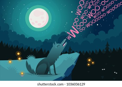Lonely wolf sitting on the edge of a cliff near a dark forest at night is howling on full moon inviting friends from the forest to join. Vector illustration