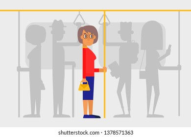 Lonely woman in a crowd on the subway. People on public transport. Flat style vector illustration.