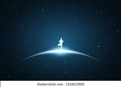 Lonely yogi in space. Vector conceptual illustration with white silhouette of meditating man. Bue abstract background with stars and glowing outline