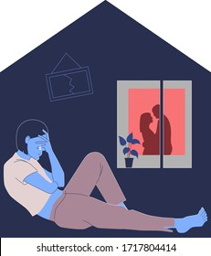 Lonely young woman suffers from uncertainty during home self-isolation. Psychology of relationships between lovers and married people during Covid-19 quarantine. Vector flat illustration.