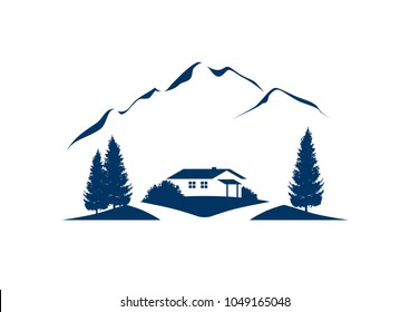 lonesome cottage in the mountains vector illustration