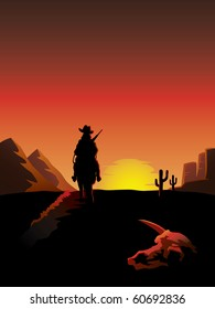 A lonesome cowboy on a horse rides off into the sunset