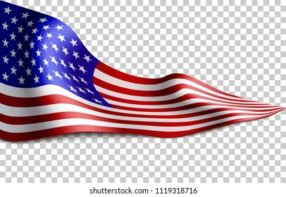 Long American flag on transparent background. Flag for patriotic holidays. Labor day, Independence day, Memorial day. Vector illustration.