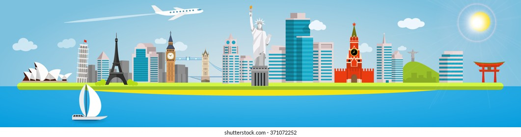 Long banner on the topic of traveling around the world. Landmarks in the background of the city. Opera House, Pisa, Eiffel, Big Ben, Tower, Statue of liberty, Kremlin, Christ Redeemer and Torii Gate.