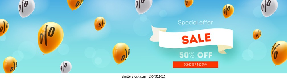 Long banner with Sale, discount offer. Yellow balloons flying in blue sky with sign of percent. Ad of sales actions. Vector 3d illustration. Creative design for discounts actions in shop and markets