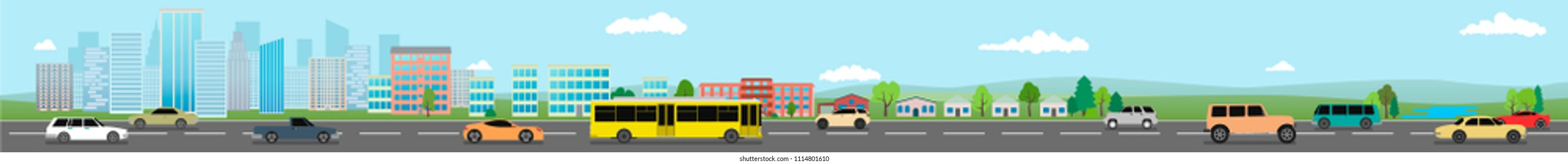 A long banner. Street of the big city. Vector illustration, a flat style design