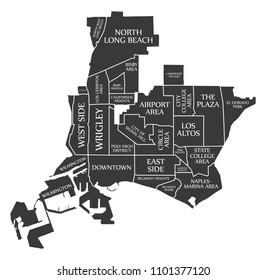 Long Beach California city map USA labelled black illustration