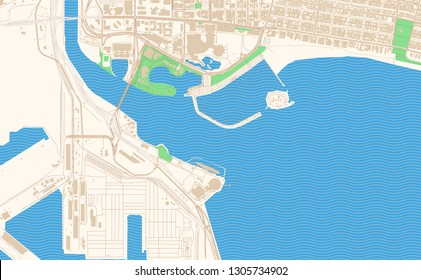 Long Beach California printable map excerpt. This vector streetmap of downtown Long Beach is made for infographic and print projects.