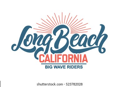 Long Beach California Riders T-shirt design. Vector lettering typography.