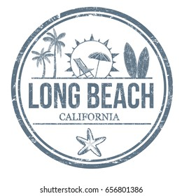 Long Beach sign or stamp on white background, vector illustration