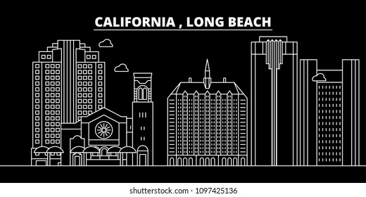 Long Beach silhouette skyline. USA - Long Beach vector city, american linear architecture, buildings. Long Beach travel illustration, outline landmarks. USA flat icon, american line banner