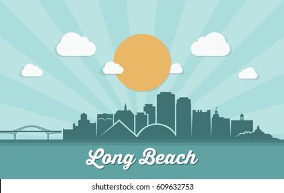 Long Beach skyline - California - vector illustration