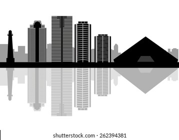 Long Beach skyline in editable vector file