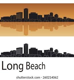 Long Beach skyline in orange background in editable vector file