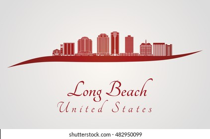 Long Beach skyline in red and gray background in editable vector file