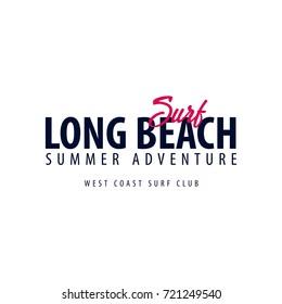 Long Beach Surfing emblem or logo. Vector illustration - Shutterstock ID 721249540