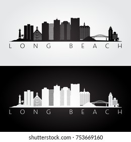 Long Beach usa skyline and landmarks silhouette, black and white design, vector illustration.