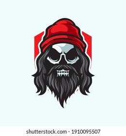 Long Beard Skull Mascot Logo